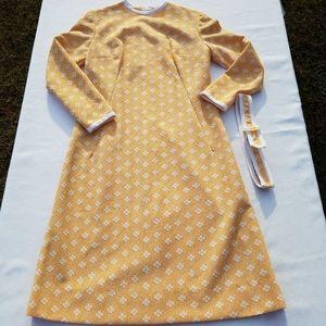 VTG Handmade Orange White Long Sleeve Dress XS